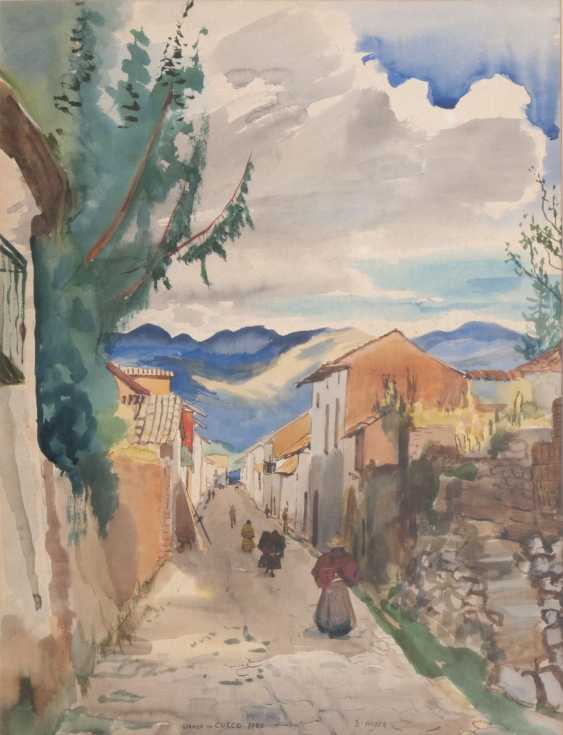 Ernst Huber (Vienna, 1895 - Vienna, 1960). Street in Cuzco, Peru - photo 1