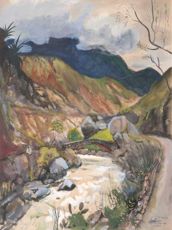 Ernst Huber (Vienna, 1895 - Vienna, 1960). Bridge over the Rio Chillon, in Lima, Peru - photo 1