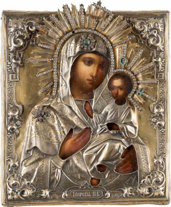 ICON OF THE MOTHER OF GOD 'IWERSKAJA' WITH VERMEIL-OKLAD Russia - photo 1