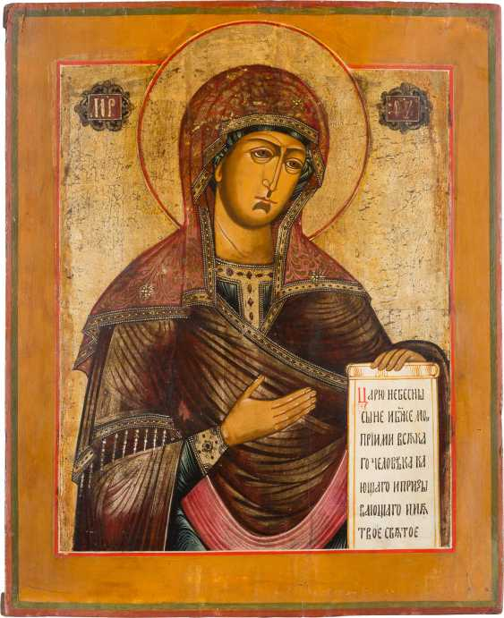 LARGE-FORMAT ICON WITH THE MOTHER OF GOD FROM A DEESIS Russia - photo 1