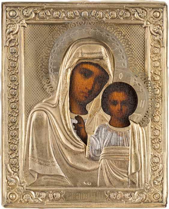A SMALL ICON WITH THE MOTHER OF GOD OF KAZAN (KASANSKAJA) WITH VERMEIL-OKLAD Russia - photo 1