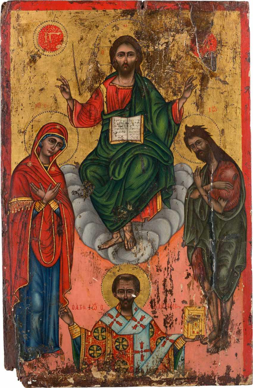 LARGE ICON WITH DEESIS AND SAINT JOHN CHRYSOSTOM Greece - photo 1