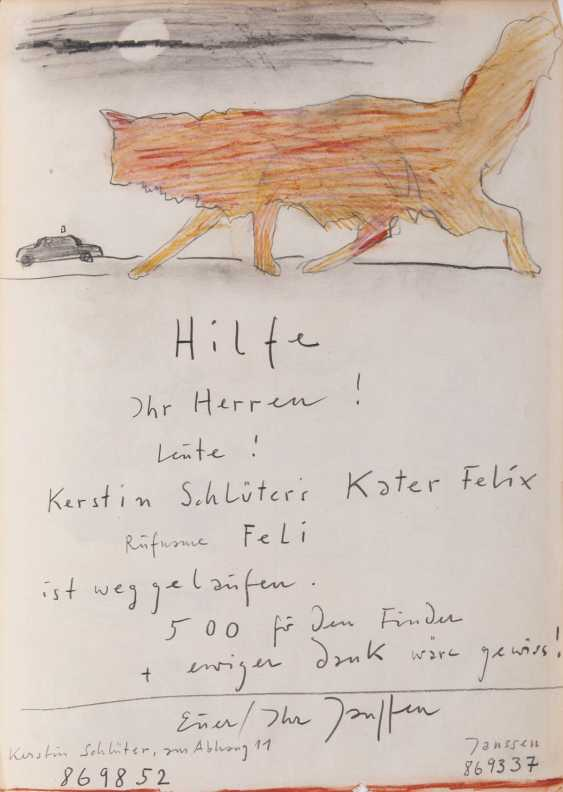 Horst Janssen (Oldenburg 1929 Hamburg 1995). Felix the cat is weGelbgoldelaufen - photo 1