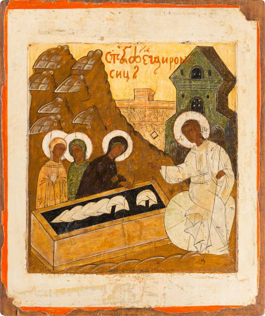 LARGE-FORMAT ICON WITH THE WOMEN AT THE EMPTY TOMB FROM A CHURCH ICONOSTASIS Russia - photo 1