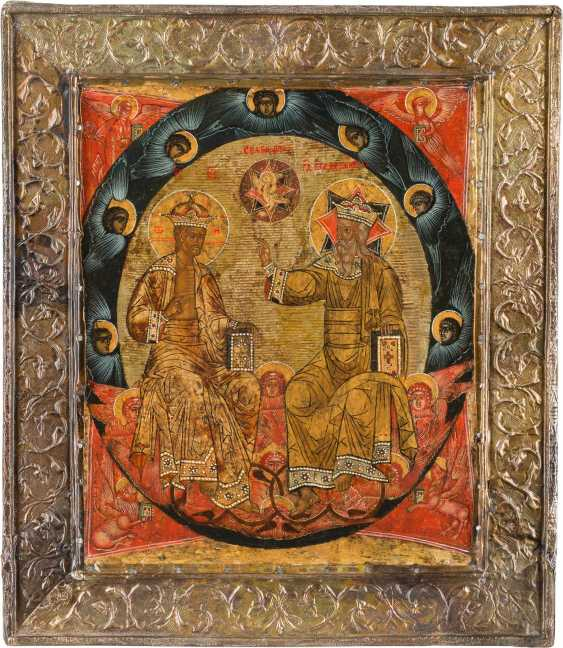 A FINE ICON WITH THE NEW TESTAMENT TRINITY WITH BASMA Russia - photo 1