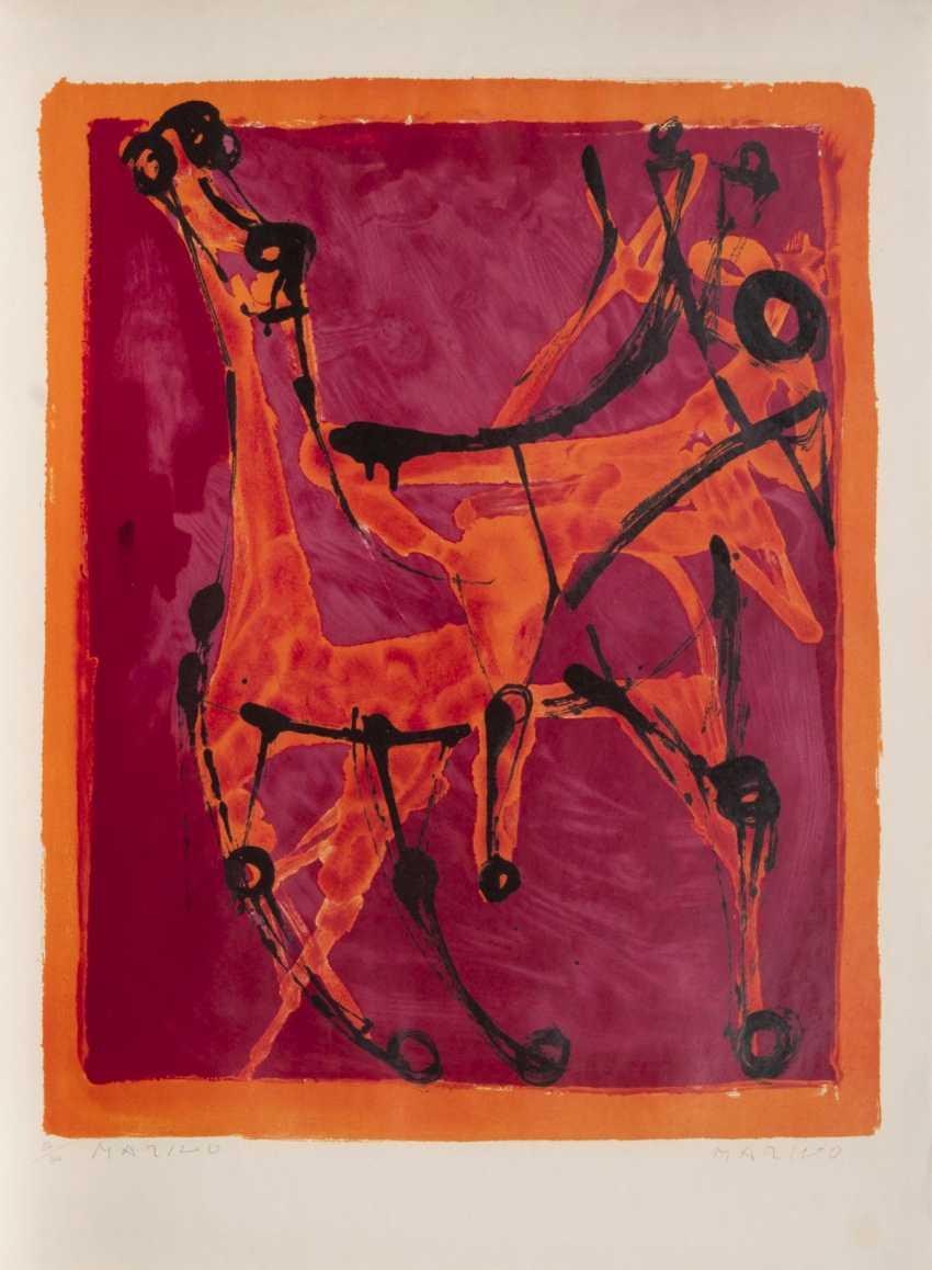 Marino Marini (Pistoia 1901 - ViareGelbgoldio 1980). Chevalier fond rouge, borders and orange - photo 1