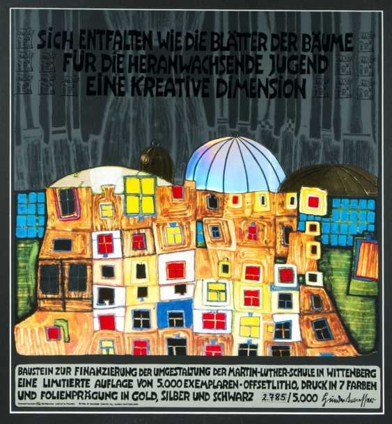 Friedensreich Hundertwasser (Vienna, 1928 - in front of Australia 2000). Barbakan Castle in Poland - unfold like the leaves of the trees - photo 1