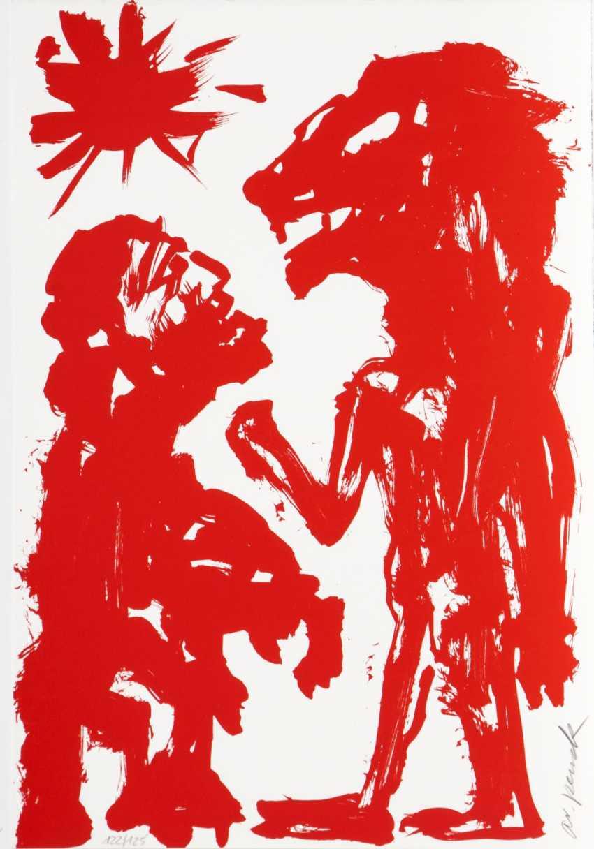 A. R. Penck (Dresden, 1939 - Zurich 2017), actually. Ralf Winkler. Two Figures - photo 1