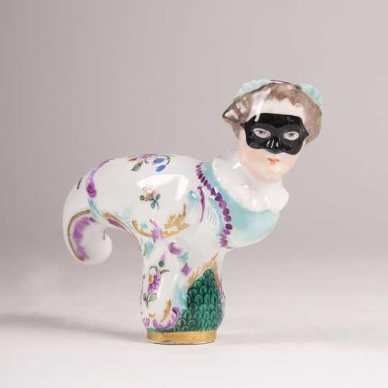Meissen cane crutch with Comedia dell'Arte-woman's head - photo 1