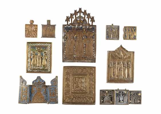 TWO TRIPTYCHA AND EIGHT BRONZE ICONS AND FRAGMENTS WITH SELECTED SAINTS Russia - photo 1