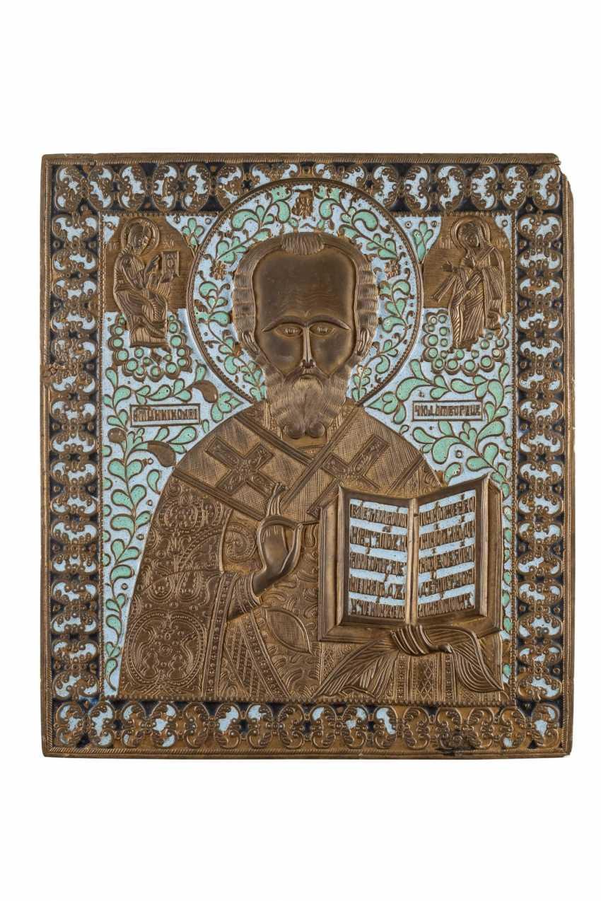 LARGE BRONZE ICON WITH ST.NICHOLAS OF MYRA Russia - photo 1