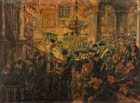 ARTHUR KARL WILHELM ILLIES 1870 Hamburg - 1953 Lüneburg Prayer in a synagogue (possibly in Pinsk) Oil on cardboard. 51 cm x 68 cm. Frame. Signed and dated 'Arthur Illies 1916' lower left. Min. Color loss - photo 1