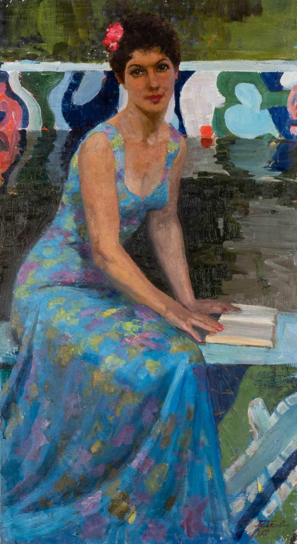 SERGEI FEODOROVICH BABKOW 1920 Zlatoust - 1993 St. Petersburg Portrait of Svetlana Babkowa (wife of the artist) Oil on canvas. 98 cm x 54 cm. Signed 'Babkow' in Cyrillic lower right - photo 1