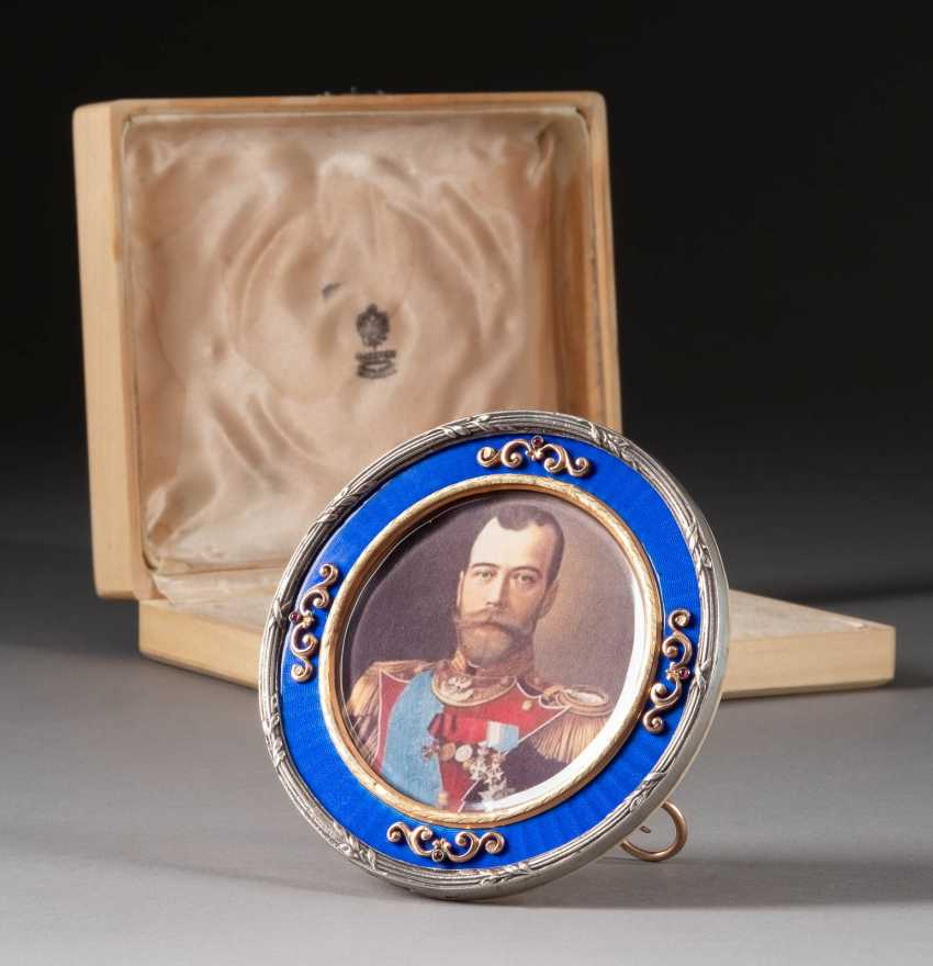 GUILLOCHÉ ENAMEL PHOTO FRAME 2nd half of the 20th century gold - photo 1
