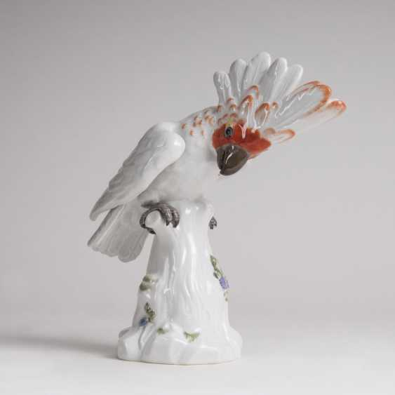 Johann Joachim Kaendler (Fischbach/Sachsen 1706 - Meißen 1775). Porcelain animal plastic 'cockatoo on branch stump' - photo 1