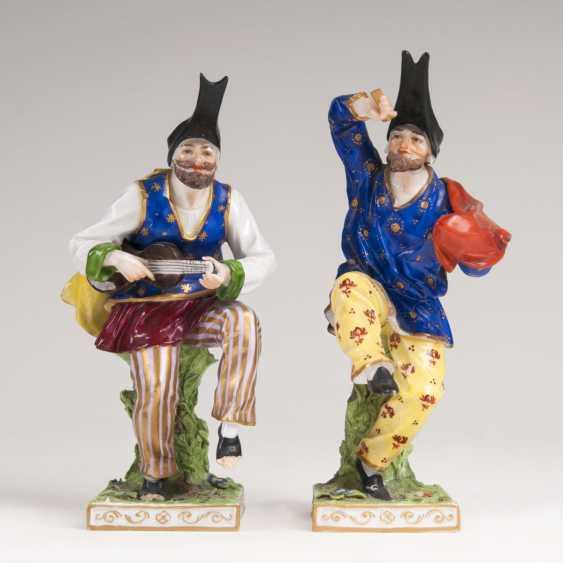Pair Of Porcelain Figurines Of 'Dancing Fools' - photo 1