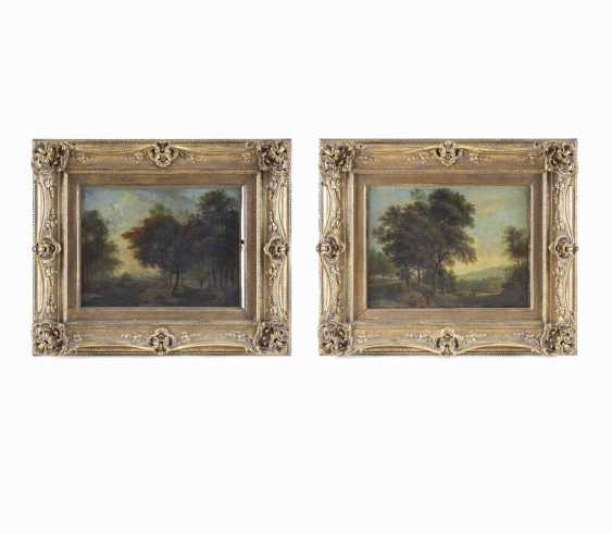Pair of landscape paintings with figure staffage - photo 1
