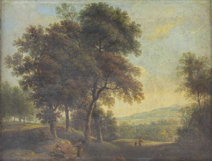 Pair of landscape paintings with figure staffage - photo 2