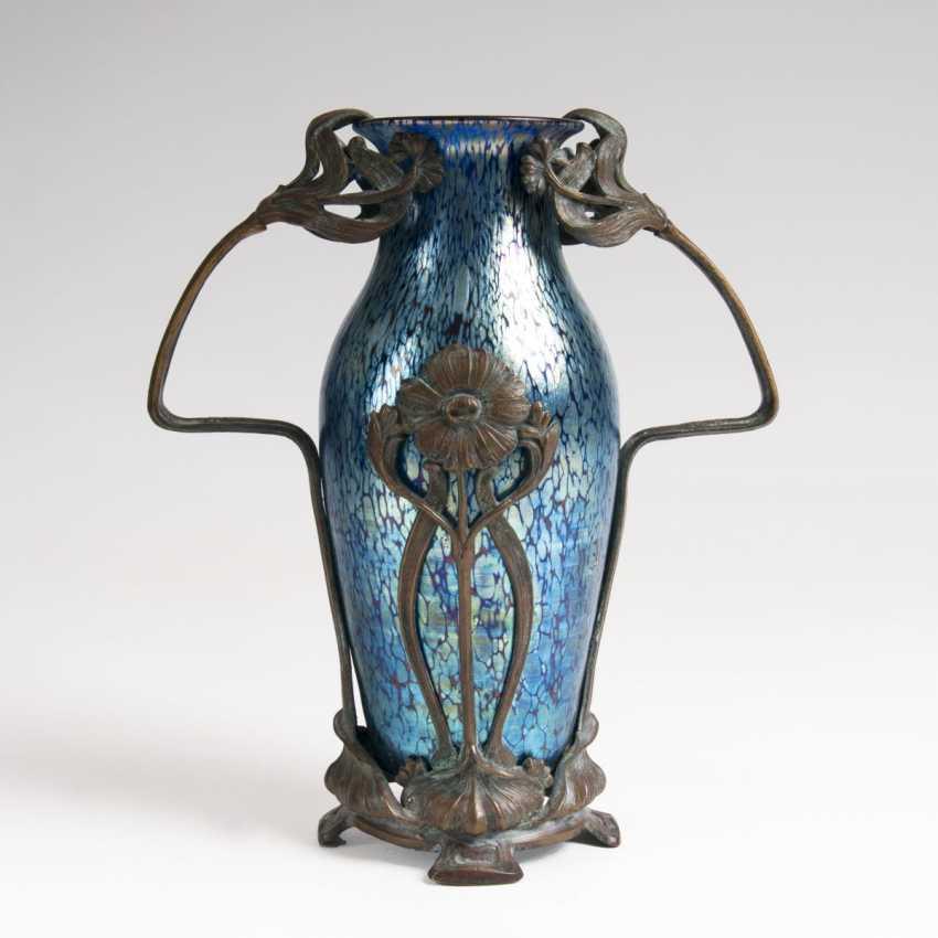 Art Nouveau handle vase, 'cobalt Papillon' with metal mount - photo 1
