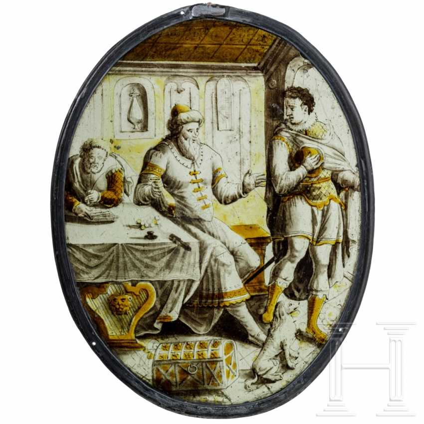 """Oval roundel """"Farewell to the Prodigal Son"""", Netherlands, around 1550 - photo 1"""