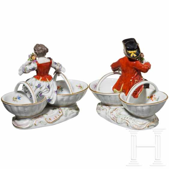 A pair of small figurative saliers, Meissen, 19th century - photo 3