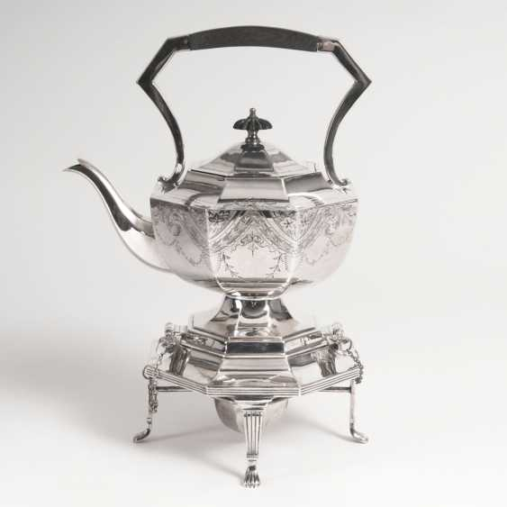 A Victorian tea kettle on a chafing dish - photo 1