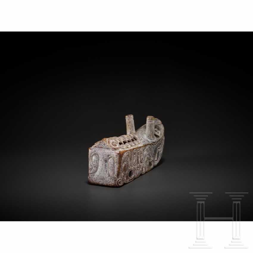 Extraordinary silkworm sculpture, nephrite, China, around 1900 - photo 5