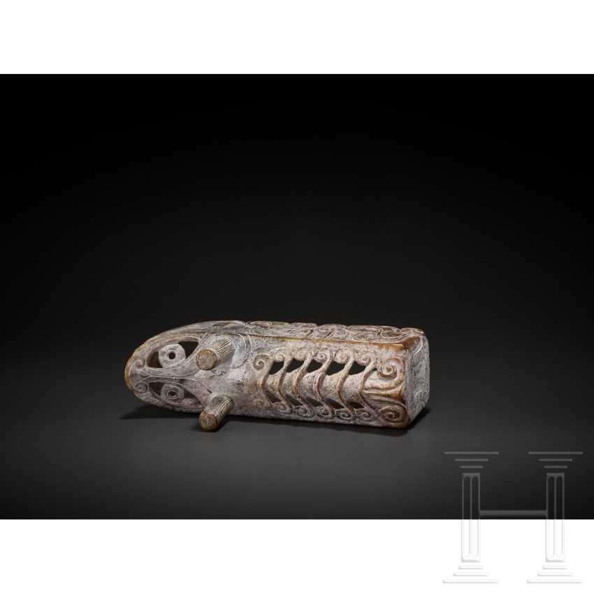 Extraordinary silkworm sculpture, nephrite, China, around 1900 - photo 7