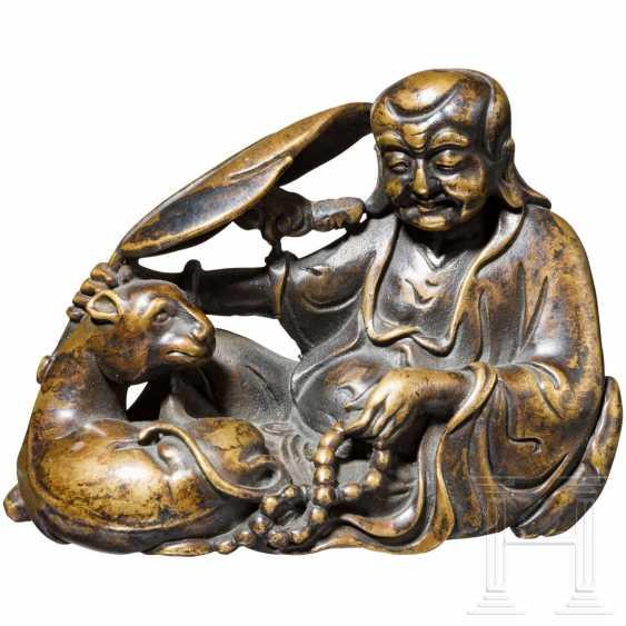"Small bronze ""Sitting Sage"", China, 18./19. century - photo 1"