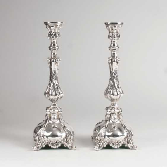 Pair of large candlesticks in the Rococo style - photo 1
