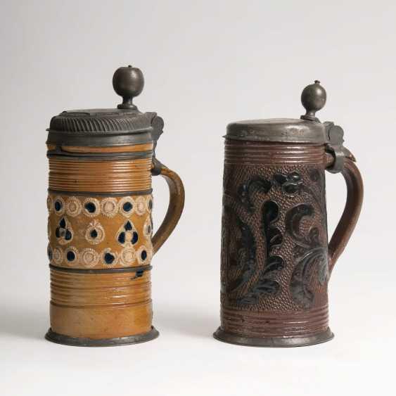 Pair Of Stoneware Rolls Jugs - photo 2