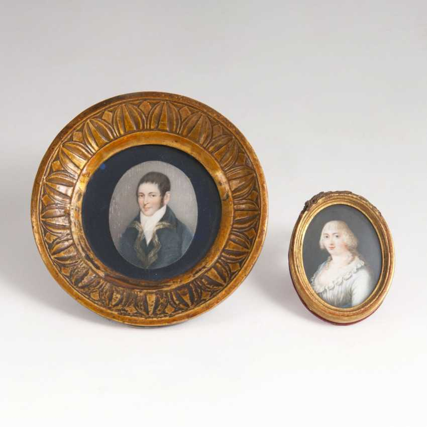 Set of 2 Empire miniature portraits of the 'Young lady' and 'Young Lord' - photo 1