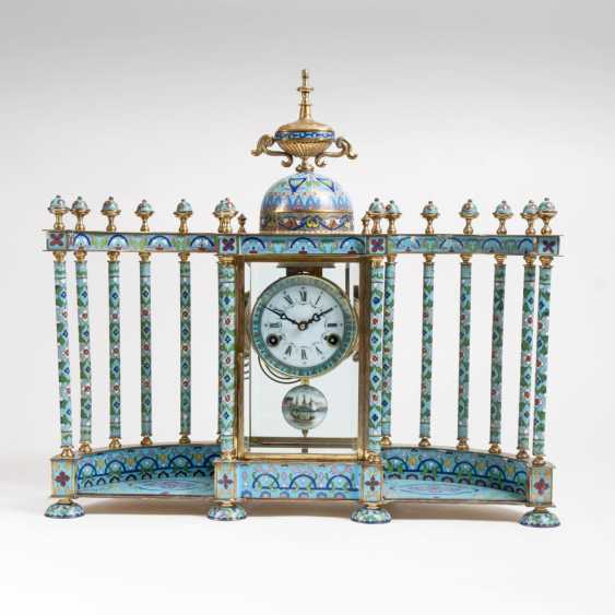 Impressive Cloisonne mantel clock with pillars, portico - photo 1