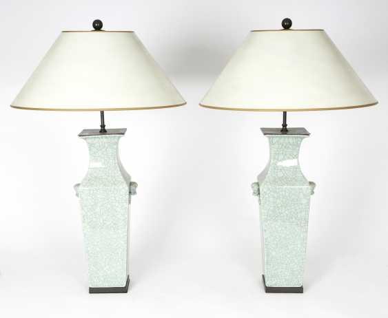 Pair Celadon Porcelain Table Lamps - photo 1