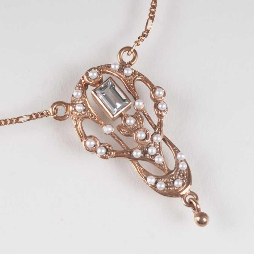 Petite aquamarine necklace in art Nouveau style - photo 1