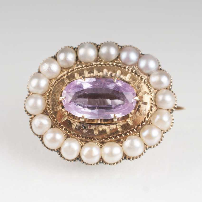 Small antique brooch set with Pink spinel and seed pearls - photo 1