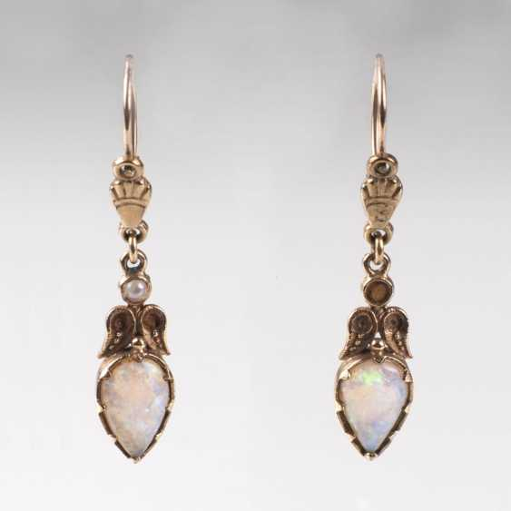 Pair Of Art Nouveau Style Opal Earrings - photo 1