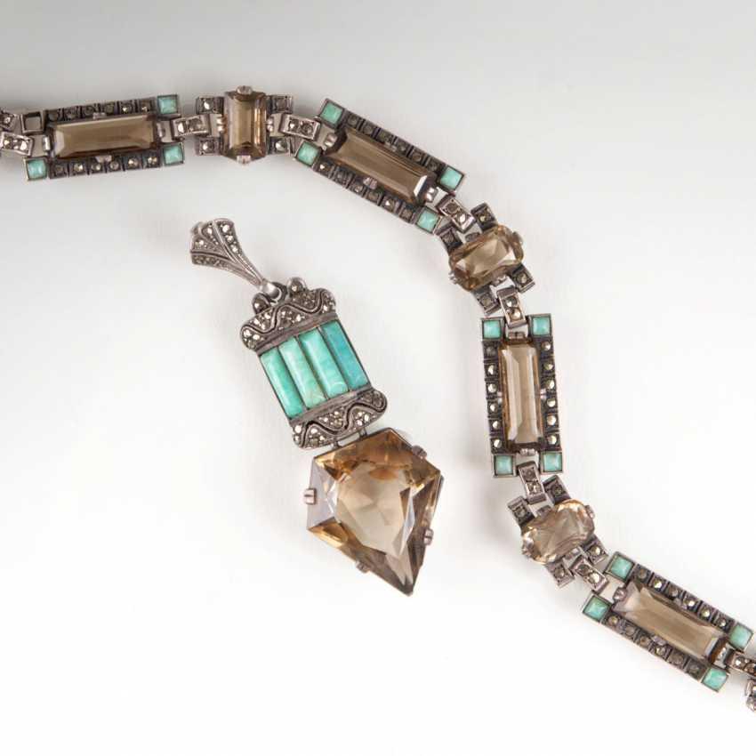 Art Deco bracelet and pendant with smoky quartz - photo 1