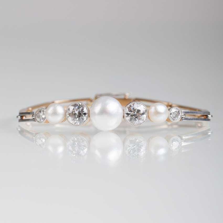 Fine art Nouveau bracelet with pearls and old European cut diamonds - photo 1