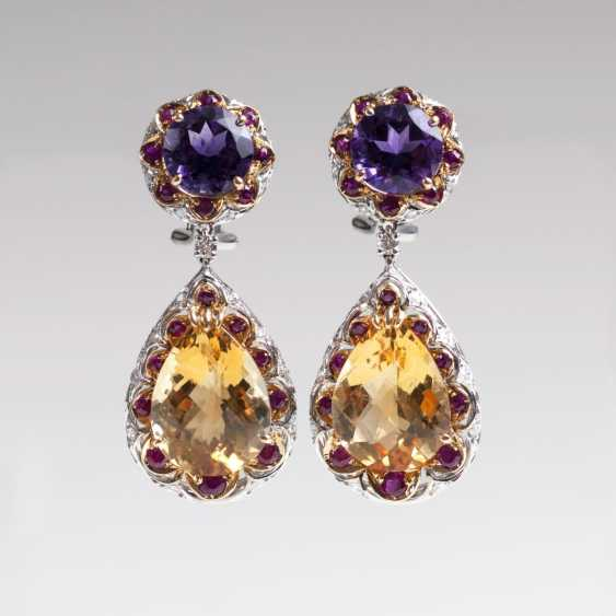 Outstanding pair of Amethyst-citrine-drop earrings with rubies and diamonds - photo 1