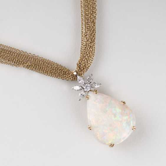 Opal and diamond pendant with chain - photo 1