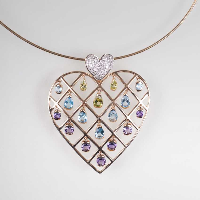Heart pendant with color-rich gemstone trim at the Ripe - photo 1