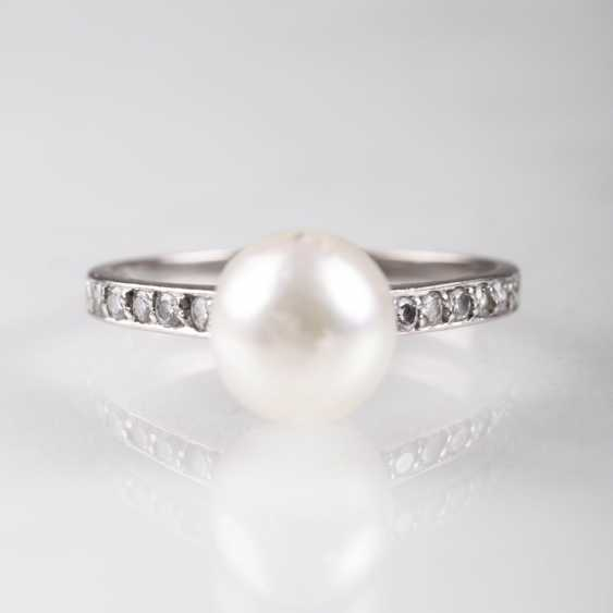 Dainty Pearl And Diamond Ring - photo 1