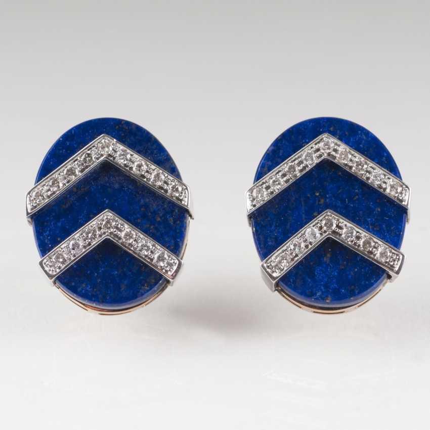 Pair Of Lapis Lazuli And Diamond Earrings - photo 1