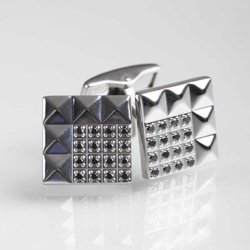 Pair of cufflinks with black diamond by Dupont - photo 1