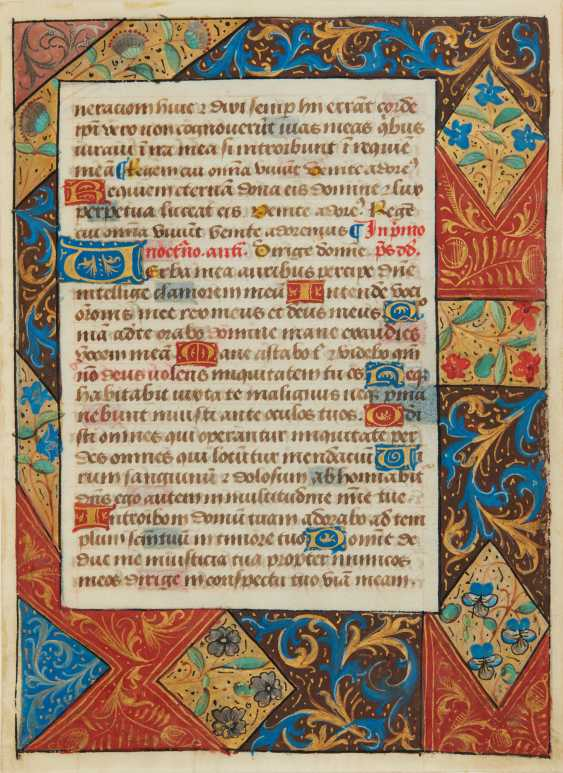 FRAGMENTS D'UN LIVRE D'HEURES, en latin, manuscrit enluminé ... - photo 1