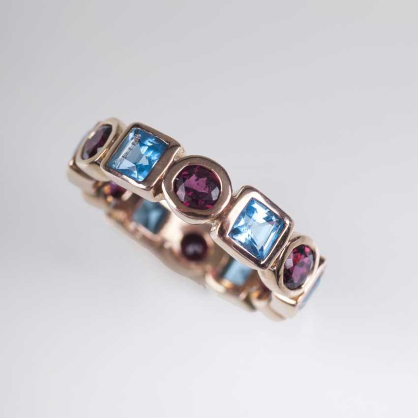 Memory-Ring mit Blautopas und Granat - photo 1