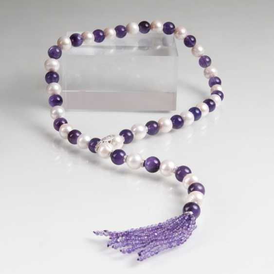 Long beaded Amethyst necklace with tassel hanger - photo 1