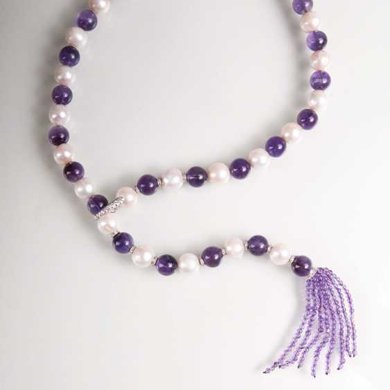 Long beaded Amethyst necklace with tassel hanger - photo 2