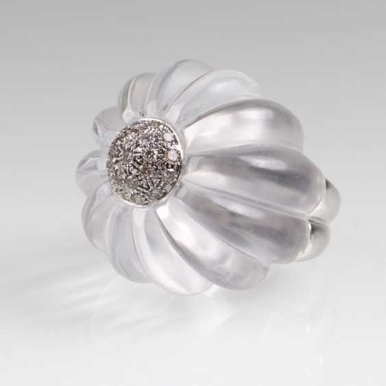 Modern flower cocktail ring with crystal and brilliant-trim - photo 1